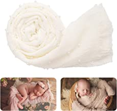 Newborn Photography Wrap | Handmade Pearl Decor Wrap Blanket for Baby Photo Props | 35.5 X 67 inch Newborn Photo Shoot Outfits White