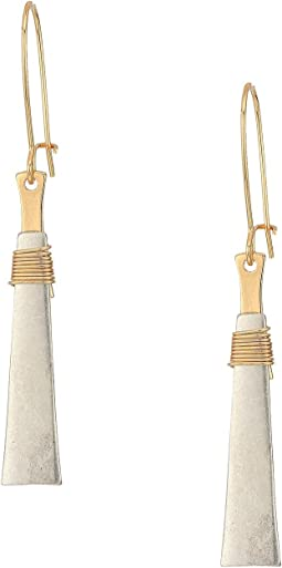 Silver Plated Geometric Drop with Gold Plated Wire Wrap Earrings