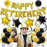 34 Piezas Decoraciones para Fiestas de Jubilación,Decoraciones para fiestas jubilación en negro y dorado, The Legend para Fiestas de jubilación decoraciones