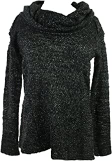 Sanctuary Black Long-Sleeve Cowl-Neck Marled-Kbit Sweater S