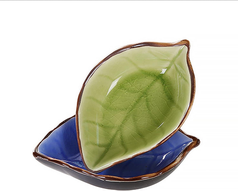 Cabilock Seasonal Wrap Introduction 3pcs Ceramic Leaves Seasoning Dishes Holders Max 43% OFF Ke Tea Bag