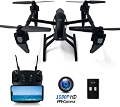 $118 » FPV Drone with Camera Live Video 1080P HD for Adults Beginners, 4K RC Quadcopter Drone Alloy 2.4G WiFi App-Controlled, Altitude Hold, Headless Mode, Gravity Control, Long Flight Time 25 Mins