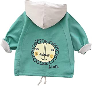 Xifamniy Infant Unisex Baby Long Sleeve Coat Cartoon Lion Print Zipper Cotton Jacket Green