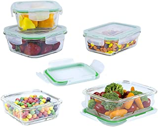 EatNeat Glass Food Storage Containers with Airtight Locking Lids: Set of 5 Assorted Square and Rectangle Meal Prep Lunch Boxes - Microwave, Fridge, Freezer, Dishwasher, and Oven Safe