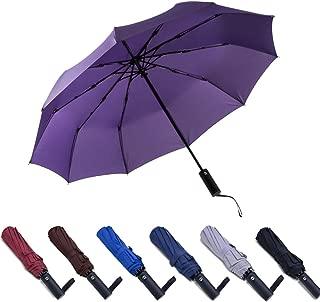 PFFY Compact Travel Umbrella Windproof Collapsible 10 Ribs Auto Open & Close Folding Small Umbrella