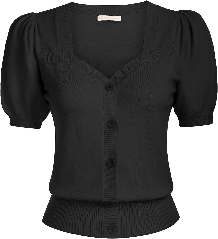Belle Poque Women Short Sleeve Cropped Cardigan Vintage Square Neck Shrug Top