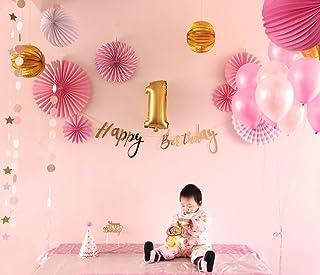 Easy Joy Decoración, Tarjeta de Decoración para Fiesta, Papel de Ventilador para Cumpleaños Banner Happy Birthday Fondo de Fotografía Rosa, 25 Piezas, Rosa