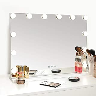 Hollywood Mirror with Lights, Lighted Vanity Makeup Mirror with Dimmable LED Bulbs, Tabletop Mirror with USB Charging Ports, White, 22.8x16.9inch