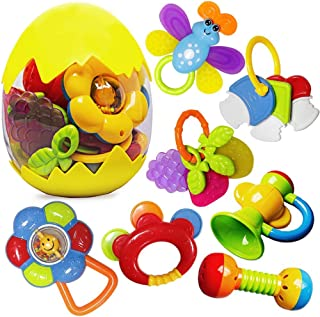 Rattle Teether Set Baby Toys - Happytime 13Pcs Shake Rattle Teethers Early Education Toys for Newborn Infant with Surprise...