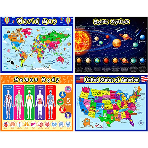 Extra Large Preschool Educational Learning Posters for Kids Toddlers, Nursery Homeschool Pre-K Kindergarten Classroom Decoration, 17 x 22 Inch (4 Pieces, World Map, USA Map, Solar System, Human Body)