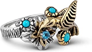 American West Sterling Silver Brass Blue Turquoise Blue Topaz Gemstone Fritz Casuse Design Hummingbird Ring Sizes 5 - 10