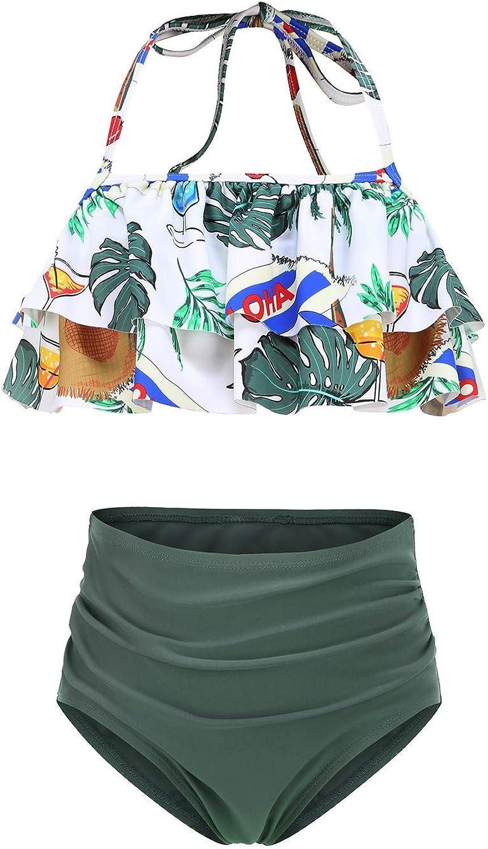 Girls Two Piece Bikini Swimsuits Striped Ruffle Swimwear Falbala Bathing Suit Set