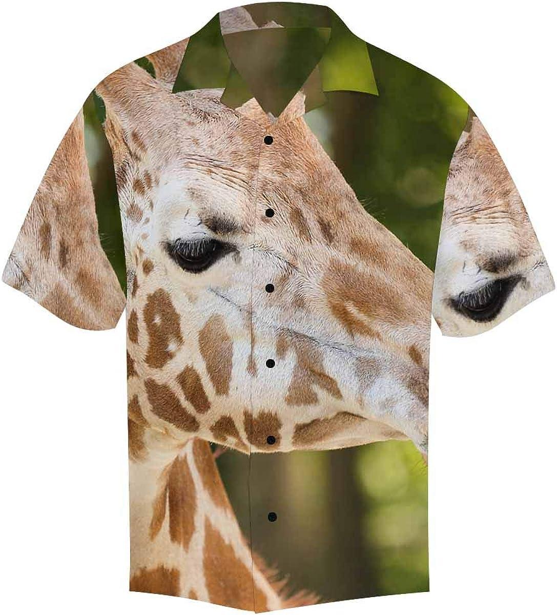 InterestPrint Men's Casual Button Down Short Sleeve Hawaiian Shirt Giraffe Skin Print (S-5XL)