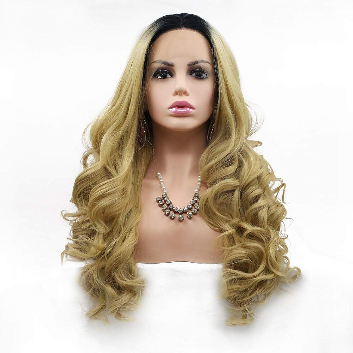 ブレーキエラーメンテナンスZXF 女性のヨーロッパとアメリカのかつらは化学繊維かつら髪セットの真ん中に設定 - 黒 - ピンク - グラデーション - 大容量 - 大きな波 - 長い髪 美しい
