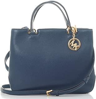 Michael Kors Anabelle Pebble Leather Medium Tote Bag NAVY ONE