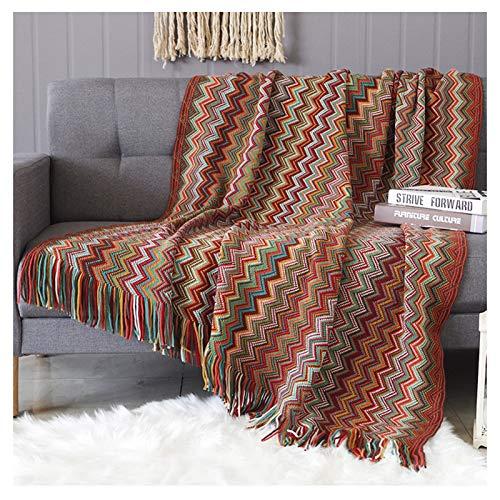YRRA Estilo Bohemio Manta del Tiro del sofá, Calentar Grueso Funda de sillón Manta Suave Multifunción Manta Decorativa para Sala de Estar,Rojo,130x170cm