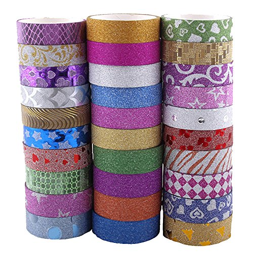 Washi Tape Glitzer,30 Rollen Art Craft Dekorative Klebeband, Washi Masking Tape Satz für DIY Craft Scrapbooking Geschenkpapier