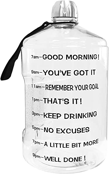 BuildLife 1 Gallon Water Bottle Motivational Fitness Workout With Time Marker Drink More Daily Clear BPA Free Large 128OZ 73OZ 43OZ Capacity