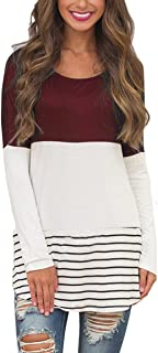 Womens Back Lace Color Block Tunic Tops Long Sleeve T-Shirts Blouses with Striped Hem