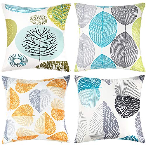 DAPTSY Grey and Yellow Blue Cushion Covers Leaf Throw Pillow Covers 45 x 45 cm Soft Polyester Square Decorative Throw Pillow Case for Living Room Couch Bed Sofa Pillowcases 45 x 45 cm Set of 4