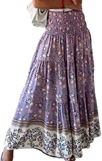 OTW Womens A-Line High Waist Casual Pleated Print Long Maxi Skirt