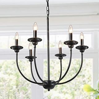 LALUZ 6 Light Transitional Chandeliers Pendant Lights For Dining Room Oil Black 244
