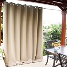 NICETOWN Patio Door Outdoor Curtain - Thermal Insulated Room Darkening Extra Wide Drape for Living Room, Hall Room, Guest Room and Villa (Biscotti Beige, 1 Pack, 100 inches Wide by 84 inches Long)