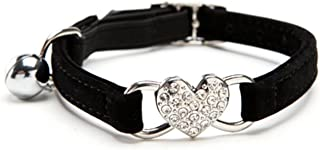 KOOLTAIL Heart Bling Cat Collar with Safety Belt and Bell 8-11 Inches