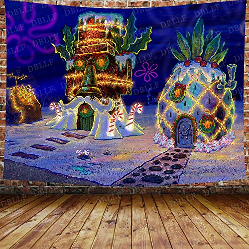 DBLLF Cartoon Pineapple Tapestry Underwater World Tapestry Sponge and Bob Squarepants Anime House Tapestry for Bedroom Living Room Dorm 80X60 Inches DBZY1207