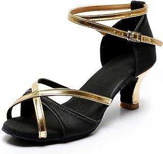 TRIWORIAE-Zapatos de Baile Latino de Tacón Alto/Medio para Mujer