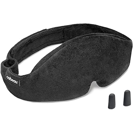 Cabeau Midnight Magic Sleep Mask – Adjust Padded Nose Strip to Block or Blackout Light - for Home and Travel - Soft Plush Fabric – Eye Liners Keep Fabric Away from Eyelids - Memory Foam Earplugs