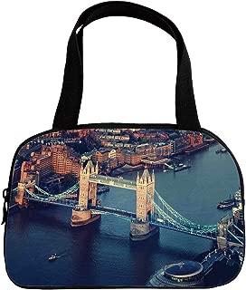 Increase Capacity Small Handbag Pink,London,London Aerial View with Tower Bridge at Sunset Internatinal Big Old UK British River Decorative,Multicolor,for Girls,3D Print Design.6.3
