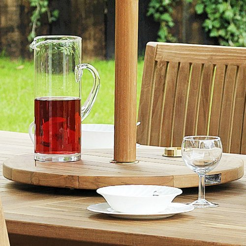 Home Life Direct Teak Lazy Susan Turntable With Parasol Port 50cm Dia