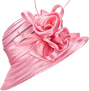 AS ROSE RICH Cloche Hat Fascinator Kentucky Derby Hat Floral Sinamay Hats Girls and Women for MelbourneCup