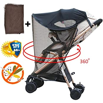 SOONHUA Baby Sun Shade Cover for Stroller Toddler Awning Anti-UV Protection Umbrella Breathable and Universal with Adjustable Strap Black