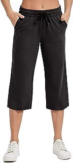 Women's Casual Bootleg Pants Summer Elasitc Waist Drawstring Sports Running Seven Points Yoga Pants Jogging Pants