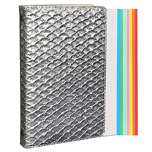 Bloc de notas con 6 anillas A6, de piel premium con cintas divisorias, bolsillos interiores, lazo para bolígrafo, 127 hojas de papel punteado