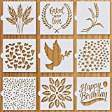 """Artisan Bread Stencils   Bread, Cake, Pie, or Cookie Stencils (Set of 9) for Decorating Your Own Unique Design   Baking Stencil Set (5.5"""" by 5.5"""") Includes Classic Wheat, Stars, Hearts & More"""