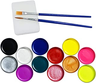Face Paint Set Cosplay Halloween Makeup Paint Kit for Kids & Adult, Easy to Apply & Remove,12 Colors with Two Brush and One Spong