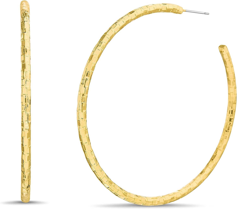 Steve Madden 62mm Yellow Textured Hoop Earrings for Women