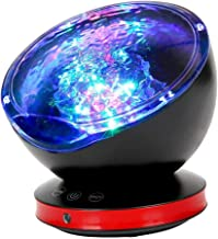 [Newest Design] Remote Control Ocean Wave Projector 12 LED &7 Colors Night Light with Built-in Mini Music Player for Livin...