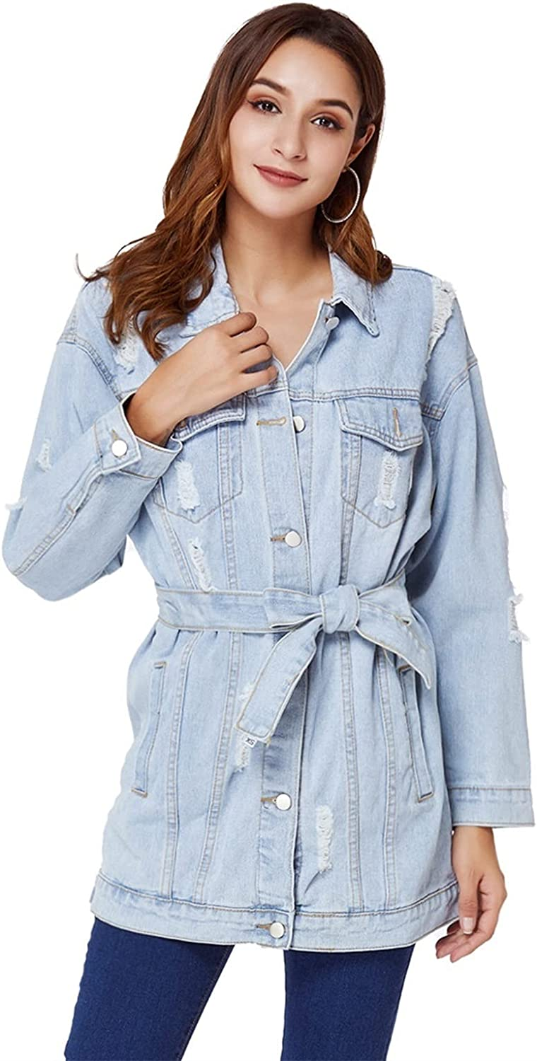 X&Armanis Women's Denim Jacket Fashion Casual Long Style Ripped Belt Belt All-Match Outdoor Denim Jacket (Color : Light Blue, Size : Small)
