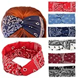 Yeshan Paisley Print Wide Bandana Knot Headbands Criss Cross Head Wrap Hair Band ,pack of 6