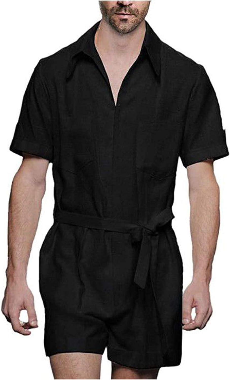 HUOJING Cotton Linen Leisure Suit Men's Solid Summer Short Sleeve Jumpsuit Lightweight Belted Shorts Overalls