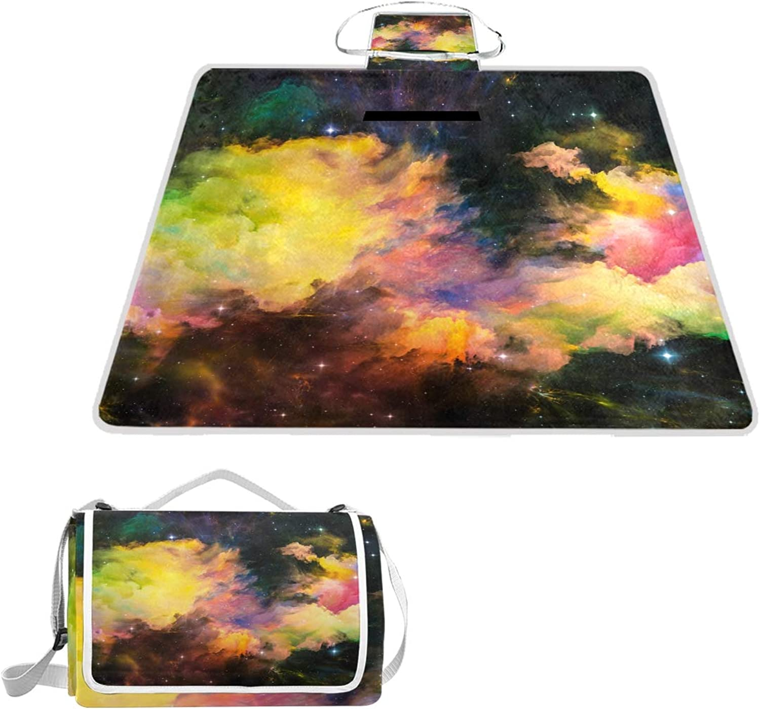 MASSIKOA Nebula Galaxy Space Starry Picnic Blanket Waterproof Outdoor Blanket Foldable Picnic Handy Mat Tote for Beach Camping Hiking