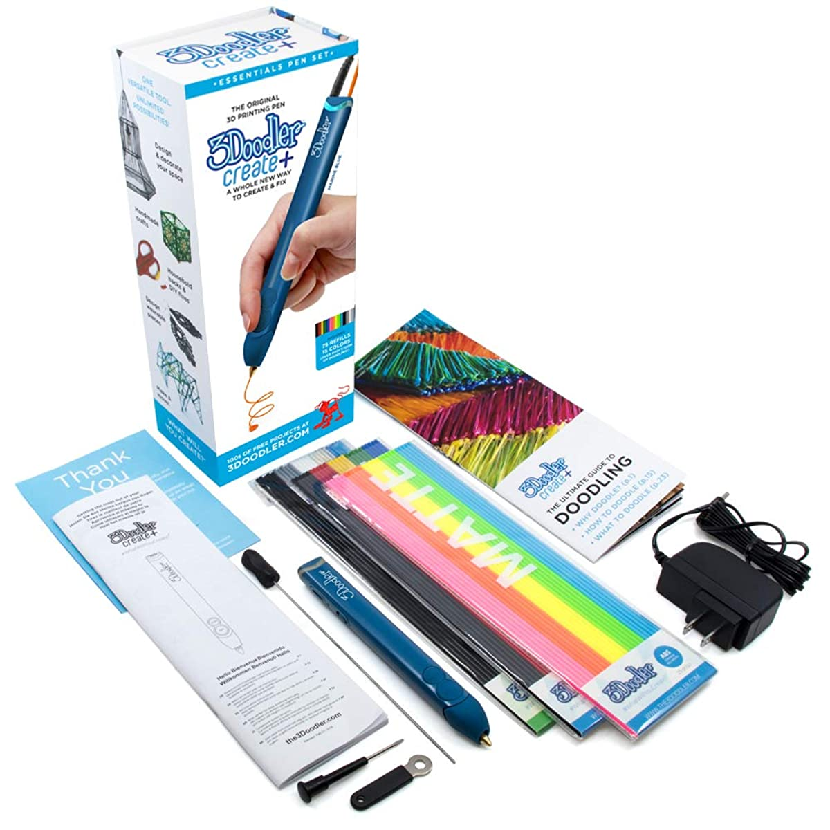 3D Pen with Free Filament Refills - 3Doodler Create+(2019 Version) 3D Doodler Art Drawing Printing Pen Kit with 15 Colors Plastic Free Stencil Activity Book for Adults Fun Arts Craft DIY Model Repair