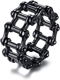 PJ Jewelry Stainless Steel Black Classic Bicycle Bike Chain Punk Rock Biker Ring for Men,Size 9-13