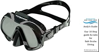 Atomic Venom Mask - Subframe Frameless Blend Ultra-Clear Schott Superwite Lens Frameless Single Window Silicone Diving Bundle with Andersons Scuba Safety Guide