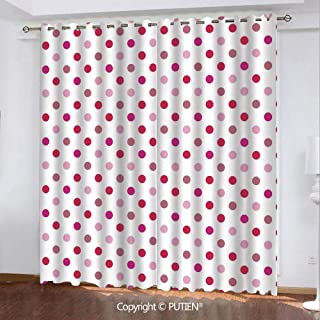 Satin Grommet Window Curtains Drapes [ Polka Dots,Polka Dots Pattern Consisting of An Array of Filled Circles Pop Art,Baby Pink Fuchsia White ] Window Curtain for Living Room Bedroom Dorm Room Classro