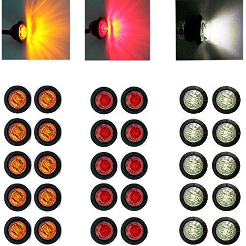 Luz redonda de 1,90cm LED de Ricoy, luz indicadora y delimitación delantera, trasera, lateral, impermeable, de 12V, para coche o camión